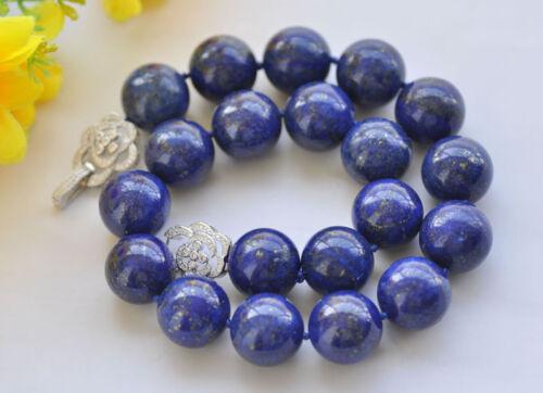 "S2390 19"" 20mm Round lapis lazuli Bead Necklace Flower CZ"