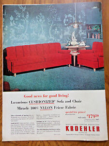 1953 Kroehler Furniture Ad Cushionized Sofa Chair Nylonfrieze