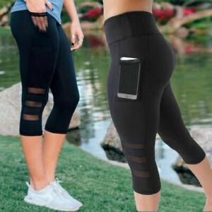 Women-039-s-High-Waist-Yoga-Pants-Capri-Mesh-Sports-Fitness-Gym-Jogging-Leggings