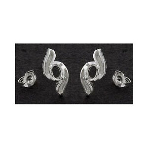 (1 pair) 6x4mm Oval Swirl Solid Sterling Silver Earring Settings