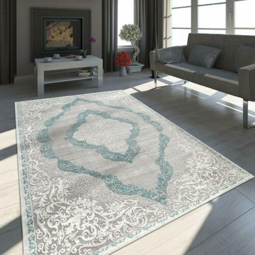 Traditional Rug Victorian Style Carpets 3D Effect Rugs Shimmering Grey Blue Mats