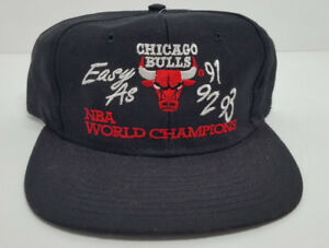 low priced 65ec9 8dc60 Image is loading CHICAGO-BULLS-NBA-WORLD-CHAMPIONS-SNAPBACK-HAT-EASY-