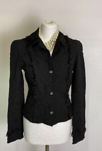 GHOST-Women-039-s-Black-Jacket-Embroidered-Fringe-Trim-Size-S-8-10-Party-Goth