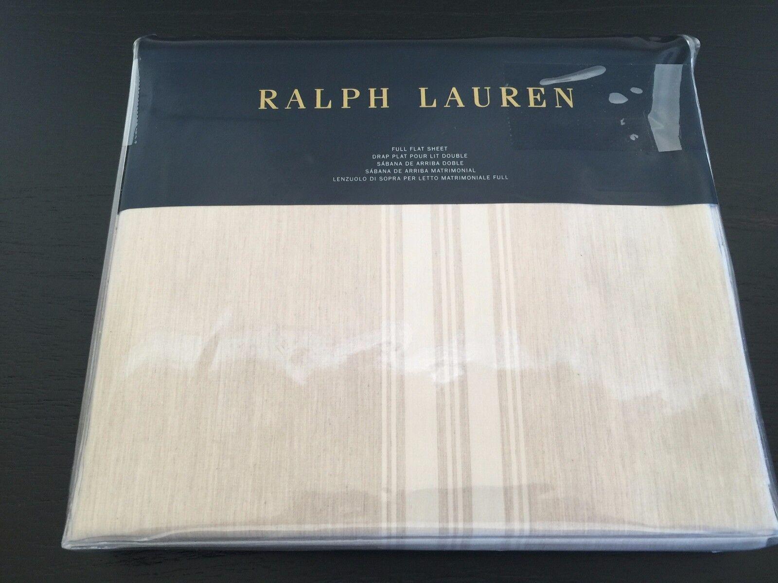 RALPH LAUREN Corso Campania FULL Stripe Natural Sheet MSRP  130 Cotton NWT