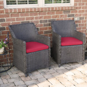 Fabulous Details About Sea Island Wicker Patio Lounge Chair Set With Red Cushion Set Of 2 Spiritservingveterans Wood Chair Design Ideas Spiritservingveteransorg