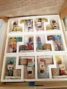 Vintage Bisque Porcelain African American Tawny Tots Figurine Candle Holder Set