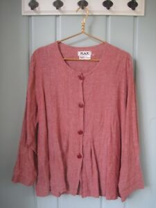 Flax-Womens-Large-12-14-Orange-Linen-Button-Front-Tunic-Blouse-Shirt-Top-Career