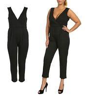 SEXY V-NECK CROSSOVER BLACK JUMPSUIT PLAYSUIT /TROUSER DRESS LADIES SIZE 16 - 26