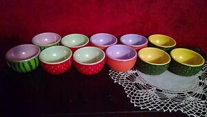 11 Ice Cream Fruit Bowls VTG Plastic Watermelon Pineapple Strawberry Orange MCM