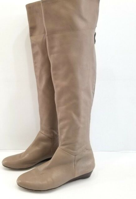 355302033e9 Halogen Women Taupe Brown Over Knee Boots Fold Down Wedge Heel Size 5M