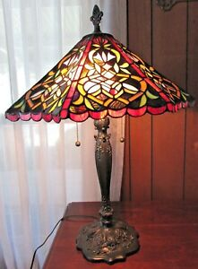 Large Victorian Style Stained Glass Table Lamp 29 Tall 20