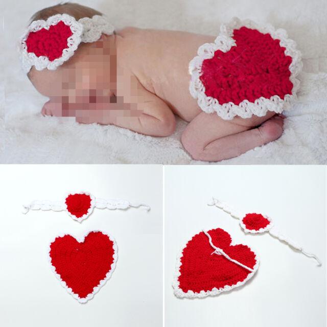 Newborn Baby Girls Crochet Knit Red Heart Headband Underwear Photography Props