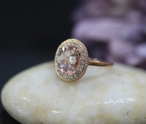 2ct Oval Cut Peach Morganite Engagement Ring 14k pink gold Over Halo Rope Design