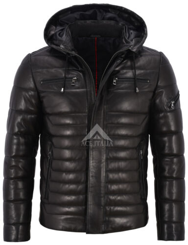 Men/'s Real Leather Jacket Puffer Hooded Black Hoodie Fully Quilted Jacket 2006