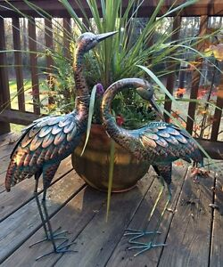 Image Is Loading Copper Patina Crane Pair Metal Garden Decor Statues