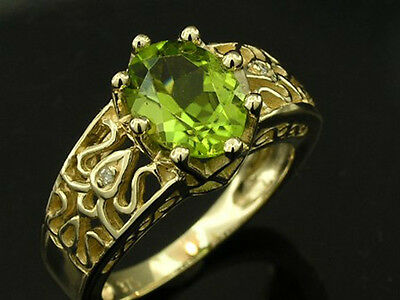 R155 Genuine 9ct Solid GOLD Natural oval Peridot & Diamond Solitaire Ring size O