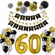 60th Birthday Party Decorations Kit Gold Number 60 Ballon 30pcs Black Silver A