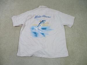 Tommy Bahama Button Up Shirt Adult Extra Large Brown Blue Aloha Hawaii Mens B63*