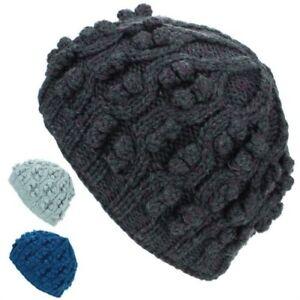 Beanie Hat Wool Cap Bobble Warm Winter Ribbed Lined LoudElephant Knit Ski
