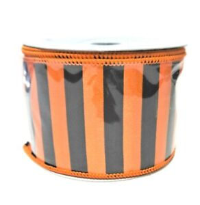 "RAZ Imports 2.5/"" x 10 Yards Black Chevron Ribbon w// Halloween Colors-Wired Edge"
