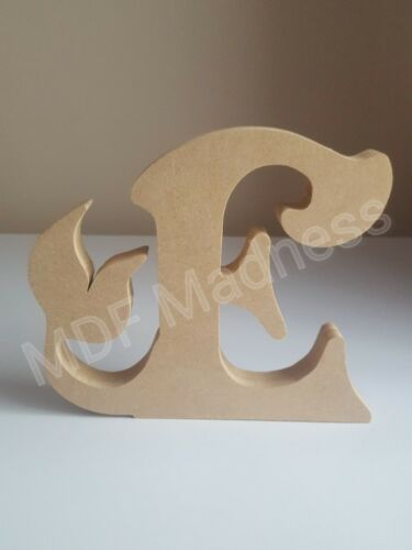 WOODEN MERMAID LETTER 18MM FREE STANDING 15CM HIGH MDF CRAFT SHAPE