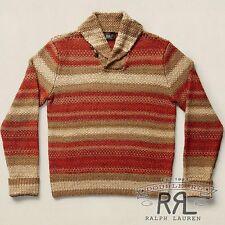 $795 RRL Ralph Lauren STRIPED LINEN SILK WOOL BLEND SWEATER CARDIGAN-MEN-XXL
