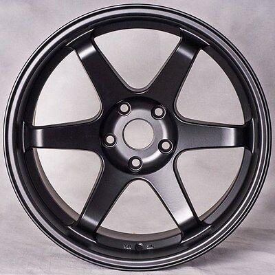 4 NEW MIRO 398 18X9.5 5X100 ET34 MATTE BLACK WHEELS