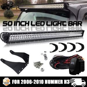 hummer h3 50 inch led work light bar combo upper roof. Black Bedroom Furniture Sets. Home Design Ideas
