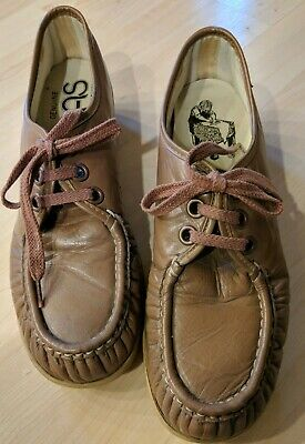 Tan/brown Leather Comfort Oxford Wedge Mocs Moccasin Shoes Lovely Luster Diplomatic Sas Size 10s aaa