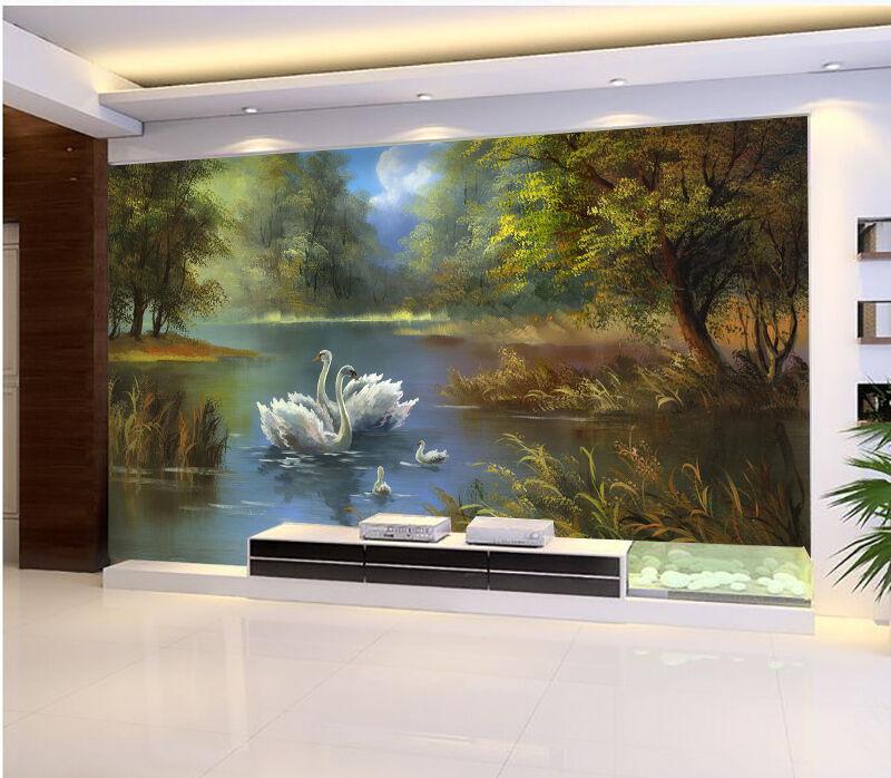 3D River Swans 565 WallPaper Murals Wall Print Decal Wall Deco AJ WALLPAPER