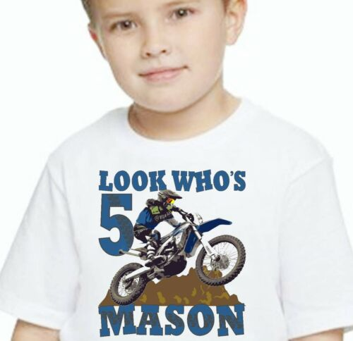 Birthday T Shirt Dirt Bike Motocross Tricks Tee Custom Personalized Name Age