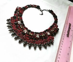 Fashion jewellery two row red colour oval link black cord 55cm choker necklace