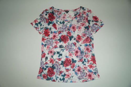 XL 1306 1019 Gr IWIE  Damen Leinen T-Shirt mehrfarbig geblümt
