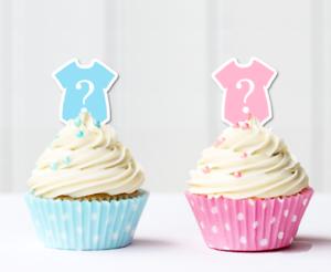 Gender Reveal Pink Blue Girl Boy Edible Pre Cut Cupcake Toppers Baby