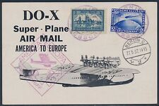 GERMANY #338 & #C38 ON DOX FLIGHT CARD 1938 AMERICA - EUROPE BT650