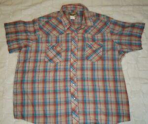 Wrangler-Western-Fashion-Pearl-Snap-Short-Sleeve-Shirt-multi-Plaid-Men-039-s-3XL-EUC