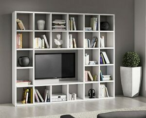 Libreria parete moderna attrezzata bianca ebay - Parete attrezzata bianca ...