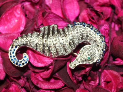 4.90cts ROSE CUT DIAMOND SAPPHIRE /& EMERALD .925 SILVER SEA HORSE BROOCH PIN