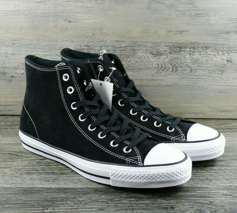 Converse Chuck Taylor All Star Pro Black White Suede High Top 144587C Size 10