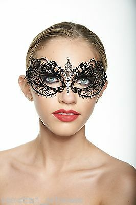 Elegant Venetian Metal Filigree Laser Cut Masquerade Mask w/ Rhinestones BA001BK