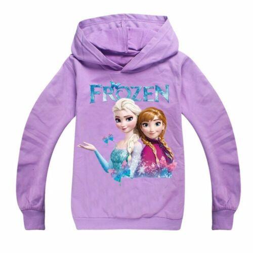 Frozen Girls Hoodies Sweatshirt Pullover Princess Long Sleeve Jumper Hooded Tops