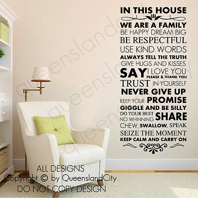 House Rules  In This House Wall Quote Family Inspirational Decal Vinyl Sticker