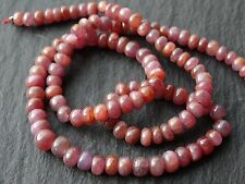"RUBY RONDELLES, graduated 4mm - 5.3mm, 14"" strand, 110 beads"