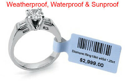 WHITE STRUNG PRICE LABELS TAGS SWING TICKETS TIE ON LABELS FOR JEWELRY RINGS