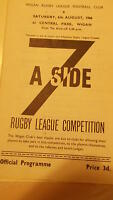6.8.66 Wigan Summer Sevens programme inc Widnes Warrington Halifax Oldham Wigan