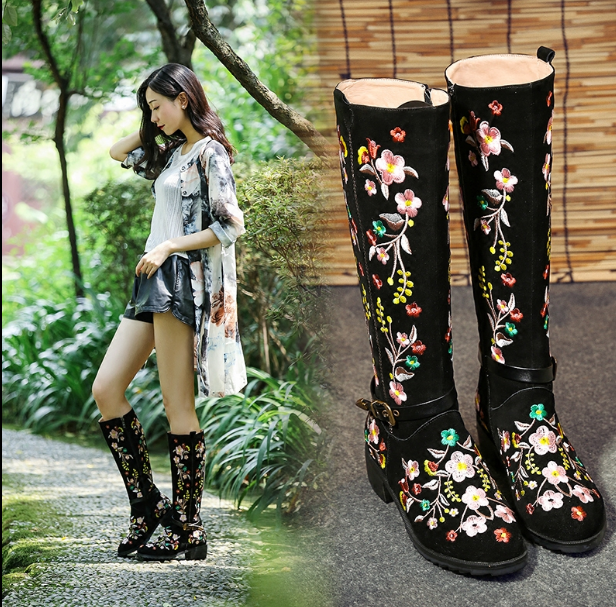 donna Retro embroider Floral mid-calf stivali Suede Block Heels Party scarpe New