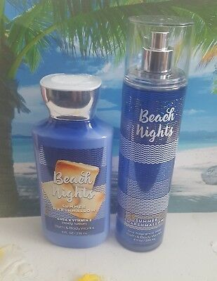 bath and body works beach nights summer marshmallow body lotion fine fragrance