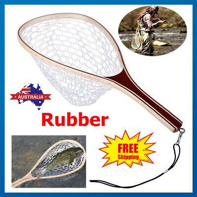 Fly Fishing Net Trout Catch Nylon Landing Net Fish Net with Rubber Handle