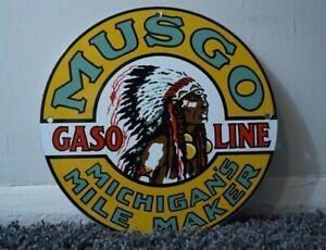 VINTAGE-MUSGO-PORCELAIN-SIGN-GAS-MOTOR-OIL-METAL-SERVICE-STATION-GASOLINE-RARE