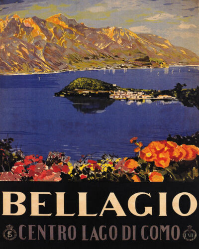 POSTER BELLAGIO CENTER OF LAKE COMO ITALY TRAVEL TOURISM VINTAGE REPRO FREE S//H